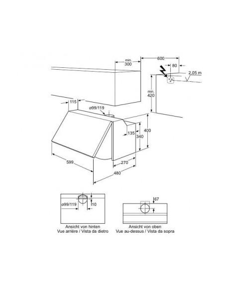AEG ADX 6300 BW blanche - Dimensions