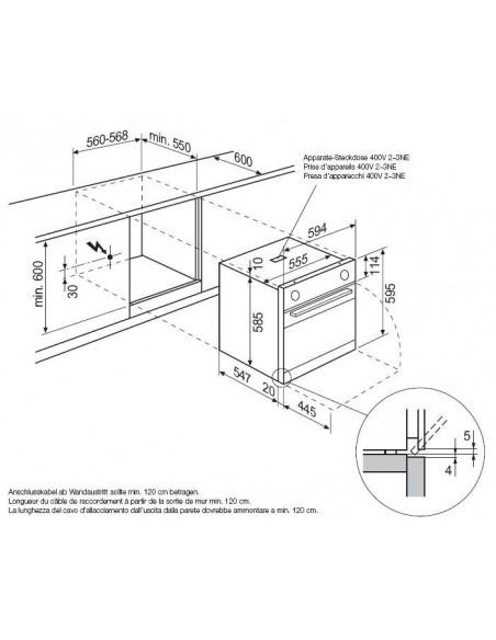 Electrolux EBSL70CN inox - Dimensions d'encastrement