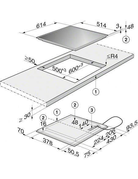 Miele KM 6117 Dimensions