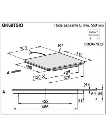 Electrolux GK69TSiPO Maxima Dimensions d'encastrement