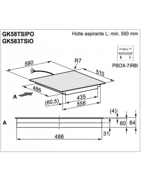 Electrolux GK58TSiPO Maxima Dimensions d'encastrement