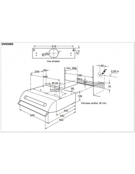 Electrolux DVK5500WE blanche Dimensions d'encastrement