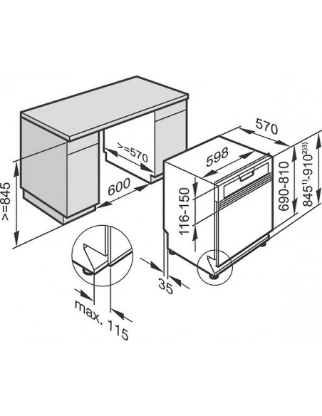 Miele G 26725-60 SCi XXL inox - Dimensions