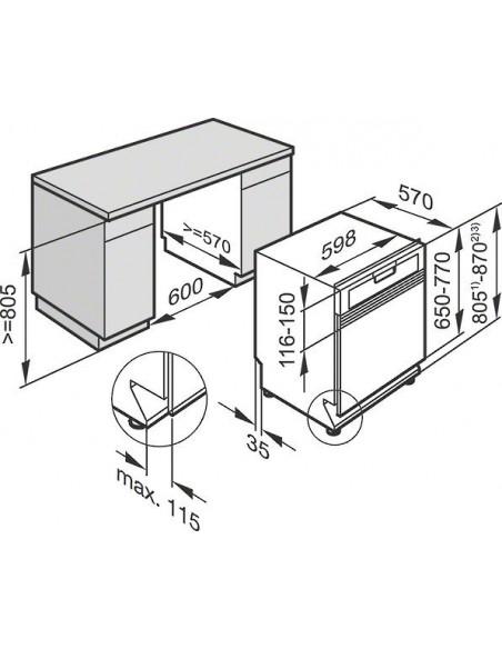 Miele G 16720-60 SCi inox - Dimensions