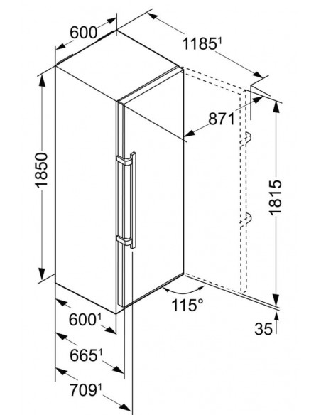 Liebherr KBbs 4350 Dimensions