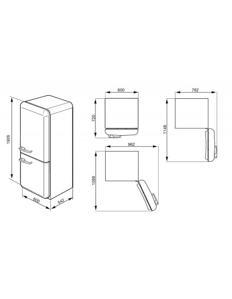 Smeg FAB32RBN1 Blanc - Ch. droite Dimensions
