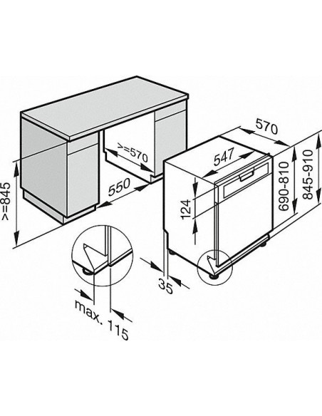 Miele G 3325-55 SCi brun - Dimensions