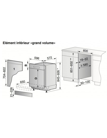 ZUG Adora SL Gdi 60 Grand Volume - Dimensions d'encastrement