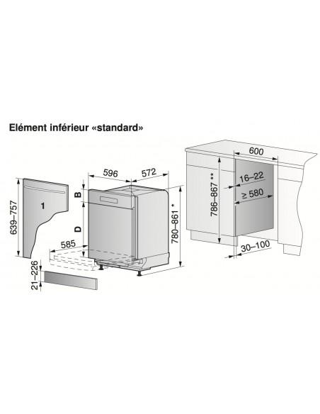ZUG Adora N Vi 60 Standard - Dimensions d'encastrement