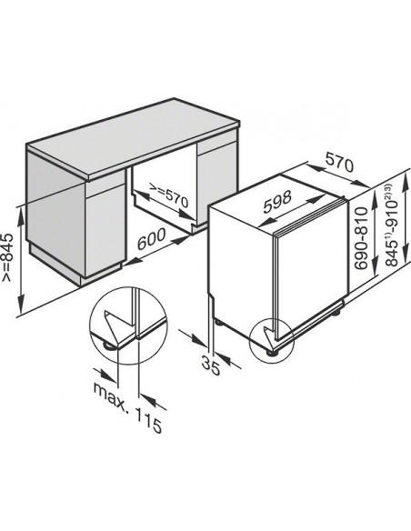 Miele G 26005-60 i SPECIAL PLUS blanc -Dimensions d'encastrement
