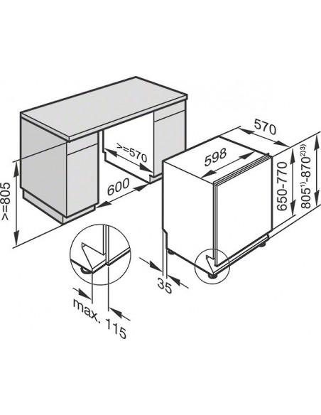 Miele G 16000-60 i SPECIAL PLUS inox - Dimensions d'encastrement