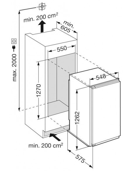 Liebherr IKPc 2554 Premium - Dimensions d'encastrement
