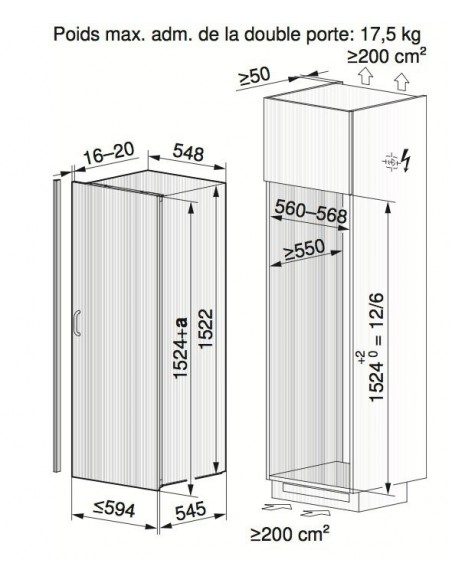 ZUG Optima 2 60i - Dimensions d'encastrement