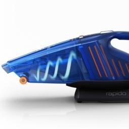 Avec la plupart des aspirateurs sans fil à main conventionnels, la poussière bouche les filtres, réduisant la puissance d'aspiration. L'action cyclonique permet de séparer la poussière de l'air aspiré. Les filtres sont plus propres et la puissance d'aspiration plus élevée.