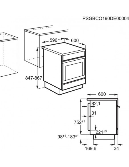 Zanussi ZCV 65021 W2 - dimensions