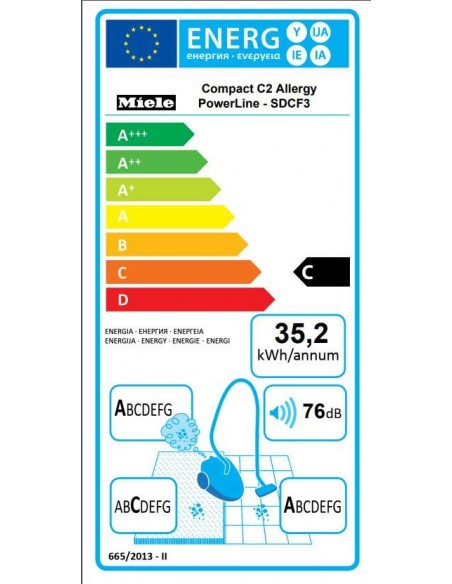 Miele Compact C2 Allergy PowerLine SDCF4 - Consommation