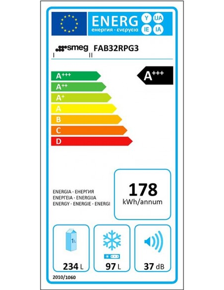 Smeg FAB32RPG3 Vert d'eau - Ch. droite - consommation