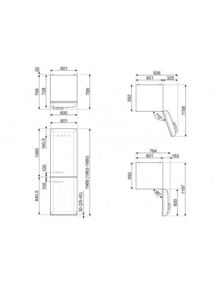 Smeg FAB32LPG3 Vert d'eau - Ch. gauche - dimensions