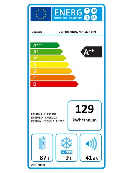 Zanussi ZRG 10830 WA - consommation