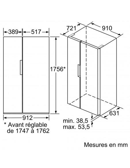 Bosch KAN92LB35 Serie 8 NoFrost - dimensions