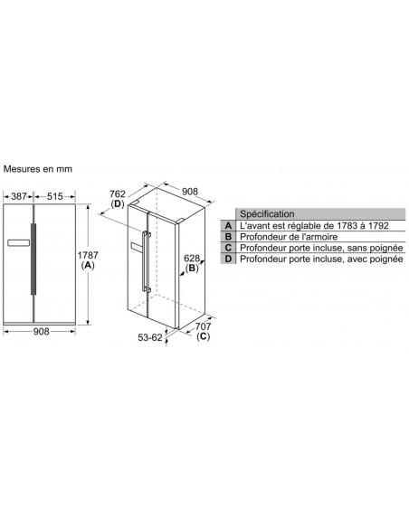 Siemens KA93NVIFP NoFrost - dimensions