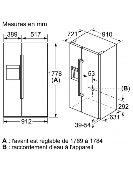 Siemens KA92DHXFP iQ700 NoFrost - dimensions