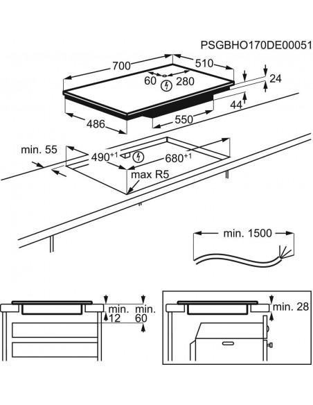 Electrolux GK69TSiBO Maxima - dimensions à plat