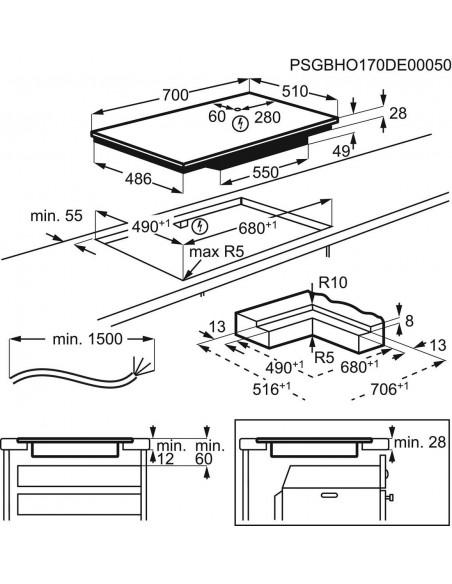 Electrolux GK69TSiBO Maxima - dimensions à fleur
