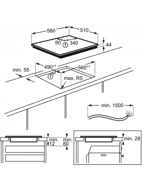 Electrolux GK58TSiPO Maxima - dimensions à plat