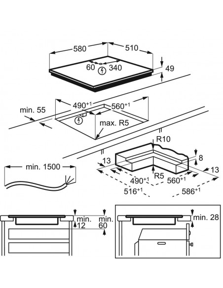 Electrolux GK58TSiPO Maxima - dimensions à fleur