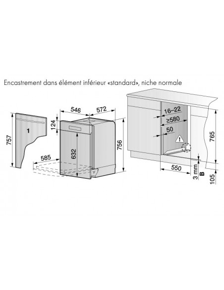 ZUG Adora Vaisselle V6000 intégré 55cm standard - dimensions