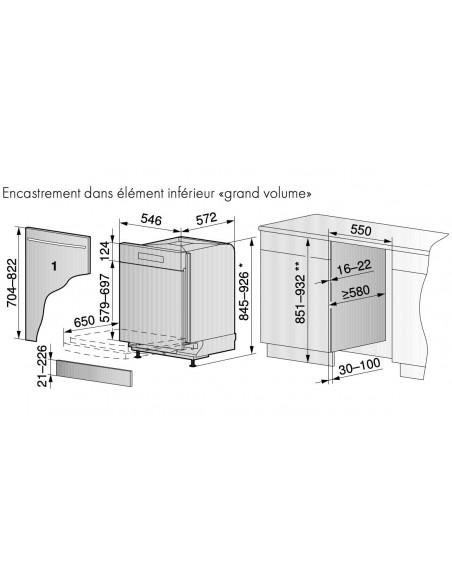 ZUG Adora Vaisselle V6000 intégré 55cm tiroir à couverts - dimensions