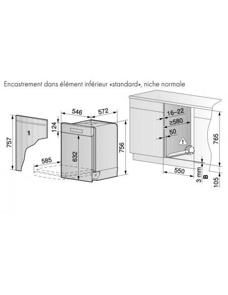 ZUG Adora Vaisselle V6000 55cm Standard poignée chrom - dimensions