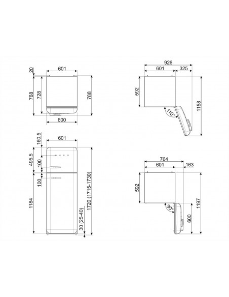 Smeg FAB30RBL3 Noir - Ch. droite  - dimensions