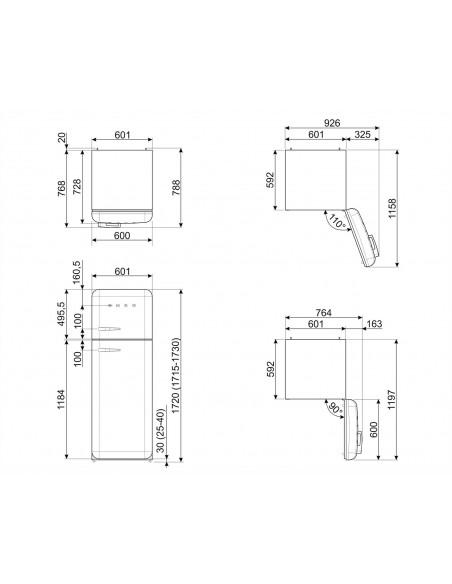 Smeg FAB30RLI3 Vert pomme - Ch. droite  - dimensions