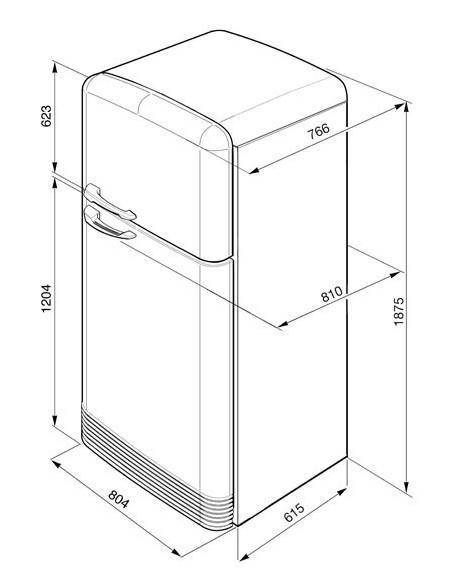 Smeg FAB50RPG Vert d'eau - Ch. droite - dimensions