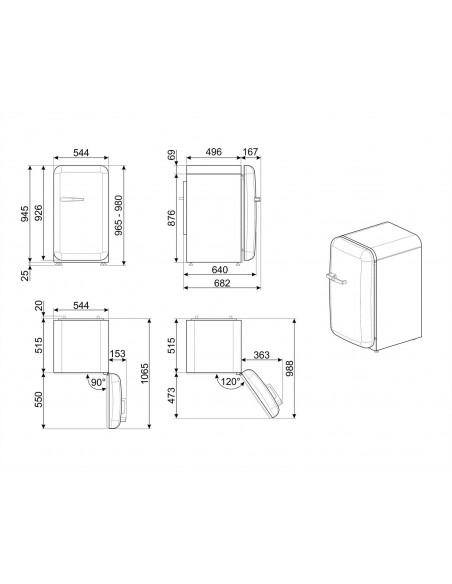Smeg FAB10LBL2 Noir ch. gauche - dimensions