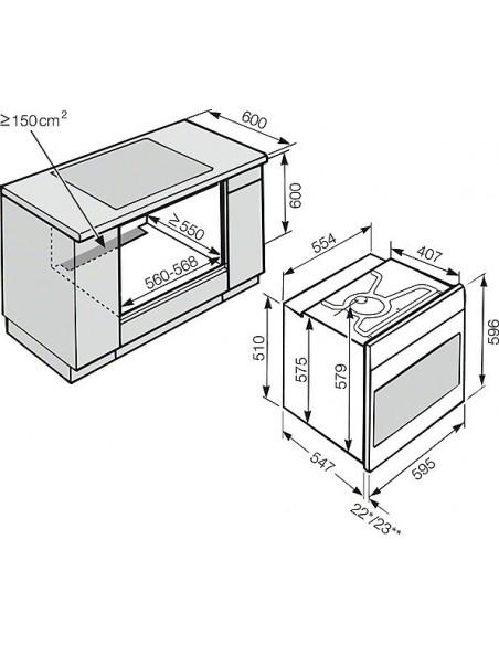 Miele H 2265-1-60 B inox - dimensions