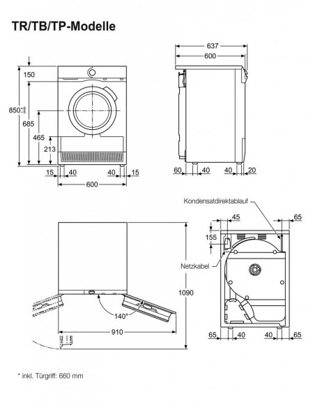 AEG Lavatherm Bella TB 5030 TW - dimensions