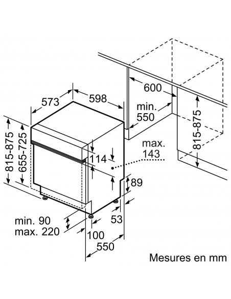 Bosch SMI8YCS01E inox - dimensions