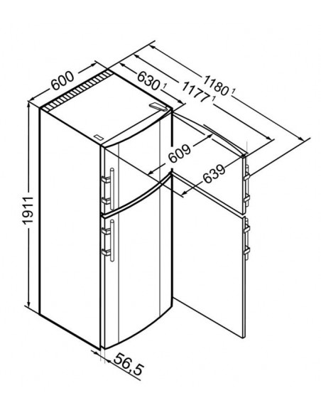 Liebherr CTNesf 3663 Premium - dimensions