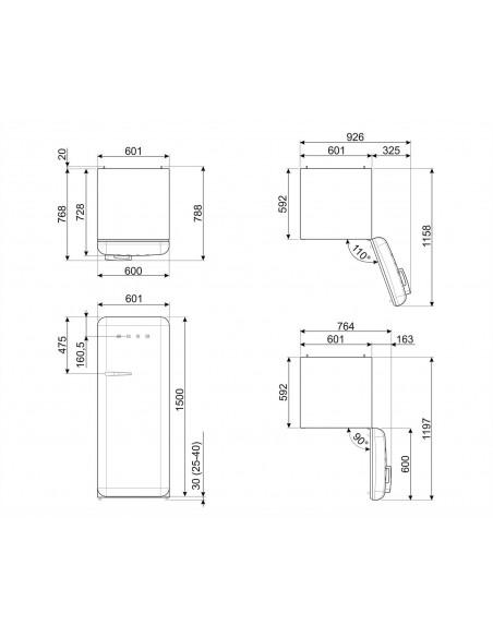 SMEG FAB28RDEG5 - Vert Emeraude - Ch. droite - dimensions