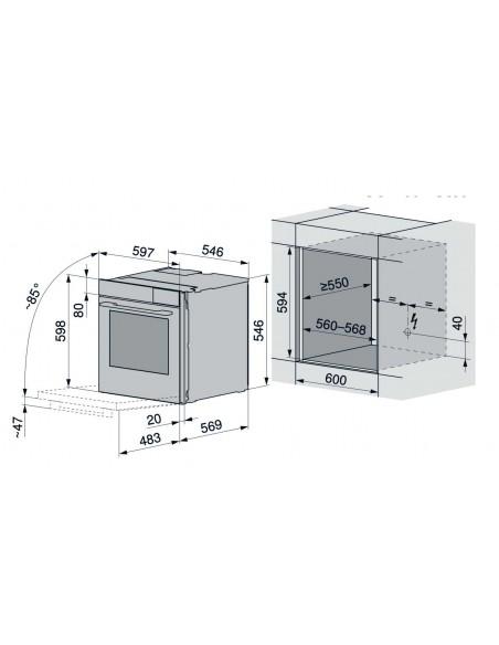 ZUG CombairSteamer V2000 60 Miroir Noir - dimensions