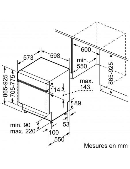 Siemens SX53ES17AH XXL inox iQ300 - dimensions