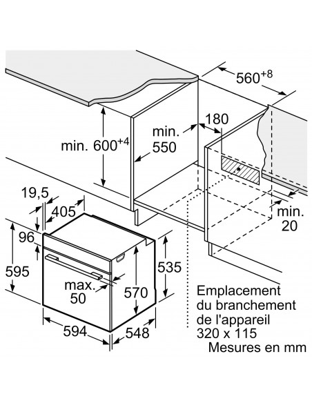 Siemens HB378G2S0 inox - dimensions