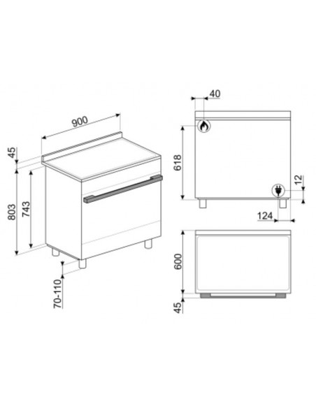 SMEG CPF9GPX - dimensions