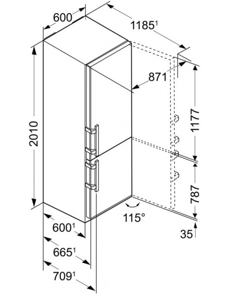 Liebherr CNPes 4858 Premium - dimensions
