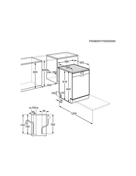 AEG Favorit FFB52610ZW - dimensions