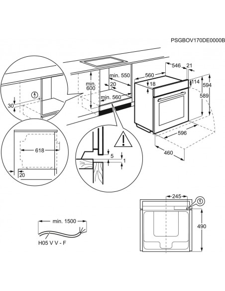 Electrolux EH6L40WE blanc - dimensions