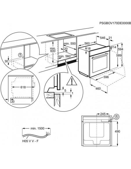 Electrolux EH6L40XWE blanc - dimensions